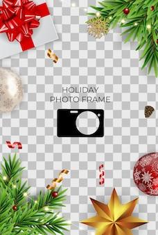 Vakantie fotolijst sjabloon. prettige kerstdagen en gelukkig nieuwjaar achtergrond.
