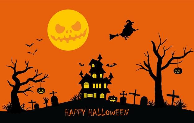 Vakantie halloween achtergrond zwarte silhouetten met elementen