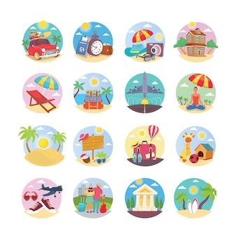 Vakantie illustratie pictogrammen pack