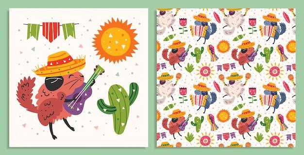 Vakantie in mexico, feestkaart. kleine schattige chinchilla's in sombrero met maracas, accordeon, gitaar, cactus, zon en vlaggen. plat kleurrijke naadloze patroon