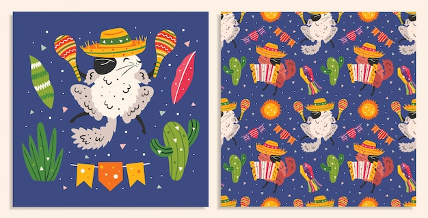 Vakantie in mexico. kleine schattige chinchilla's in sombrero met maracas, accordeon, cactus, zon en vlaggen. mexicaans feest. plat kleurrijk naadloos patroon