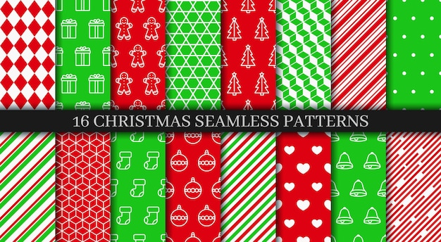 Vakantie inpakpapier. kerst naadloze patronen collectie