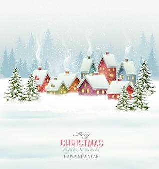 Vakantie kerst achtergrond met een dorp en bomen