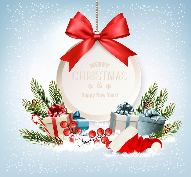Vakantie kerst achtergrond met een geschenkdozen en gift card met rode strik