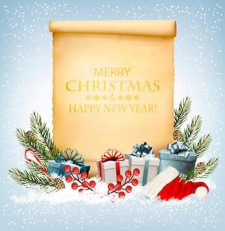 Vakantie kerst achtergrond met een geschenkdozen en oud papier