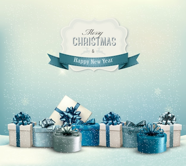 Vakantie kerst achtergrond met een rand van geschenkdozen.