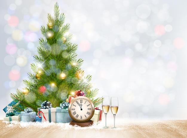 Vakantie kerst achtergrond met geschenkdozen en kerstboom