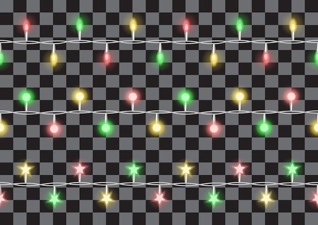 Vakantie lichten slingers vector horizon naadloze patroon