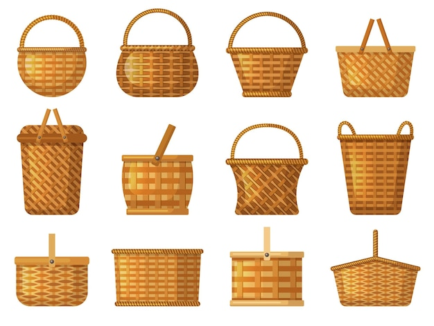 Vakantie mand. product belemmert voor camping vector handwerk mand cartoon collectie. mandmand voor picknick, zomermandenwerkillustratie