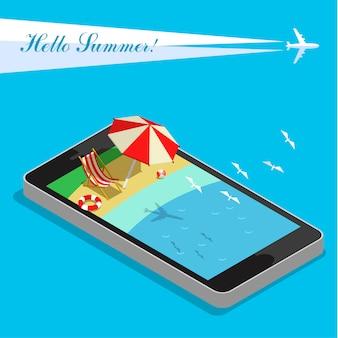 Vakantie met mobiele telefoon concept