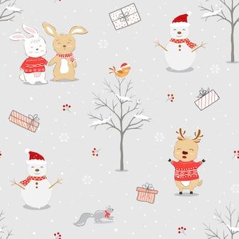 Vakantie naadloos patroon met hand getrokken schattige dieren op winterachtergrond, vectorillustratie