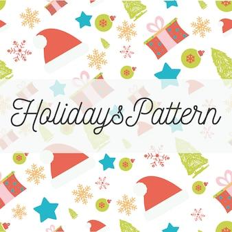 Vakantie naadloos patroon met santahoeden