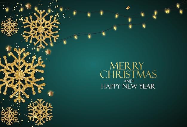 Vakantie nieuwjaar en merry christmas achtergrond met realistische kerstboom.