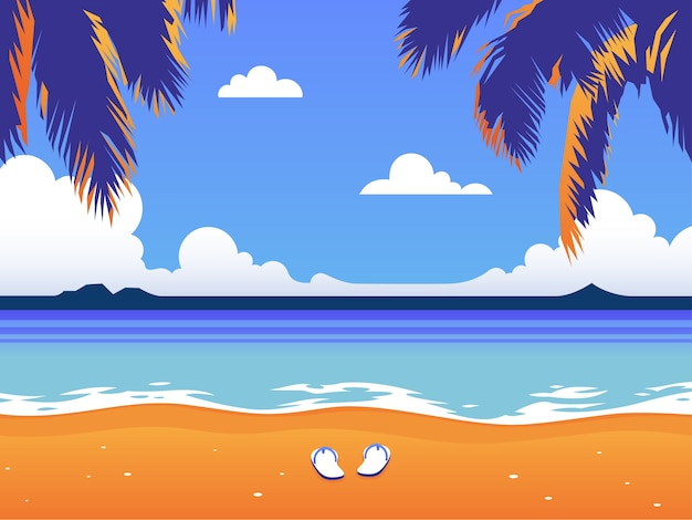 Vakantie op het strand onder palmbomen.