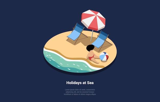 Vakantie op zee illustratie in cartoon 3d-stijl samenstelling op blauw donker