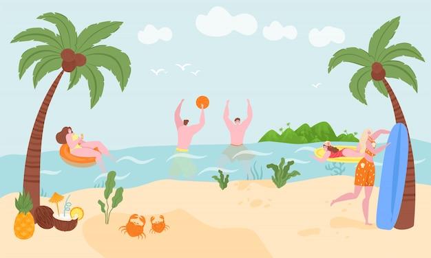 Vakantie op zee of oceaan in de zomer, surfen, zwemmen in rubberen ring drijvend in oceaanwater illustratie. strand aan zee zwemmen vakantie poster. zee vakantiegangers resort en vrije tijd, buitenplezier.