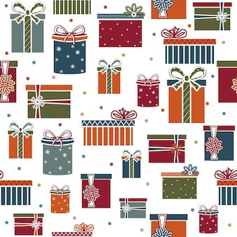 Vakantie patroon geschenken, geïsoleerde illustratie op een witte achtergrond.