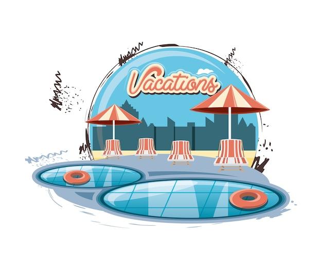Vakantie plaats met zwembad scène pictogram vectorilustration