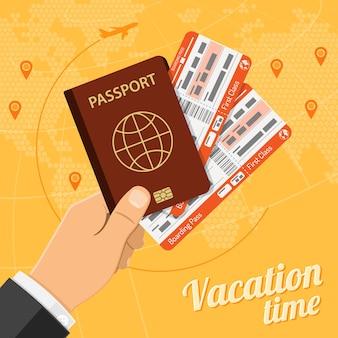 Vakantie reizen en toerisme concept met plat pictogrammen vliegtuigen, hand met paspoort en kaartjes. vector illustratie