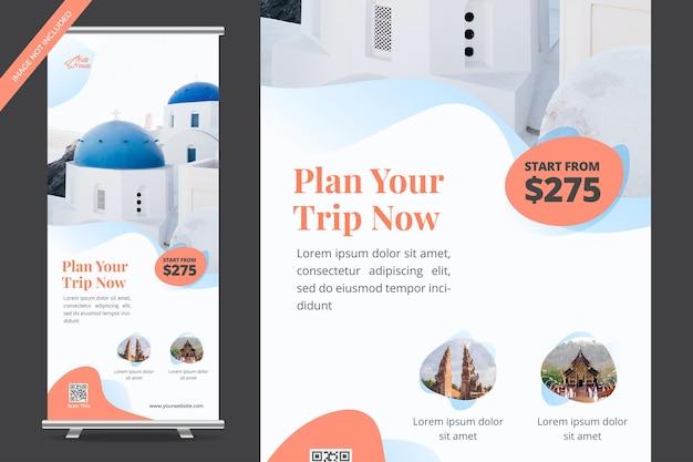 Vakantie reizen roll-up banner ontwerp