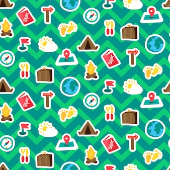 Vakantie reizen stickers naadloze patroon