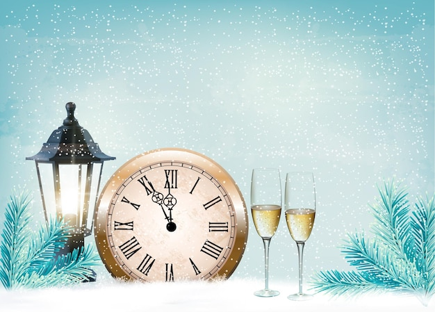 Vakantie retro achtergrond met champagneglazen en klok. gelukkig nieuwjaar.