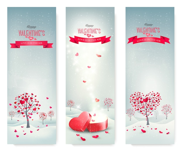 Vakantie retro banners. valentine-bomen met hartvormige bladeren.