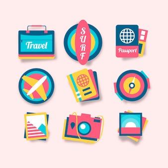 Vakantie sticker set in 70s stijl