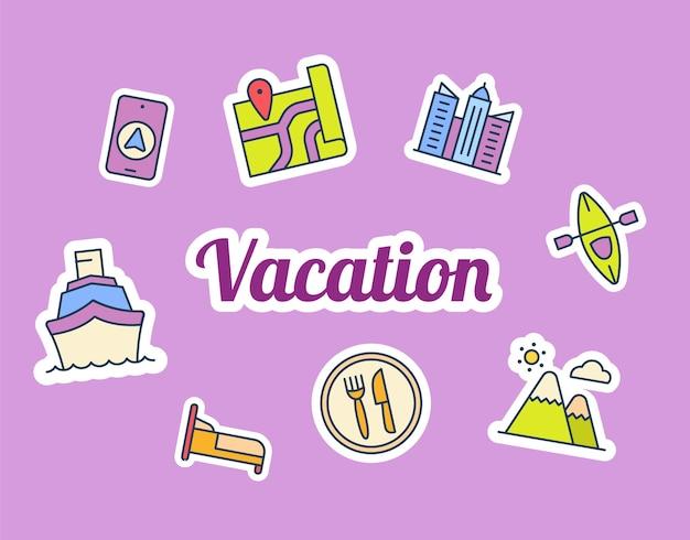 Vakantie sticker stickers met gevulde kleurstijl