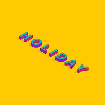 Vakantie tekst 3d isometrische lettertype ontwerp social media post pop art typografie belettering vector