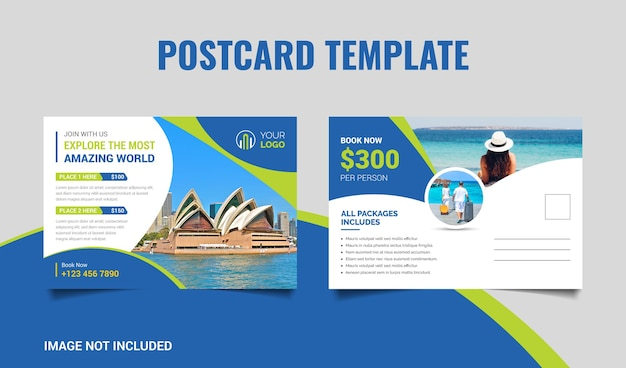 Vakantie tour reizen briefkaartsjabloon