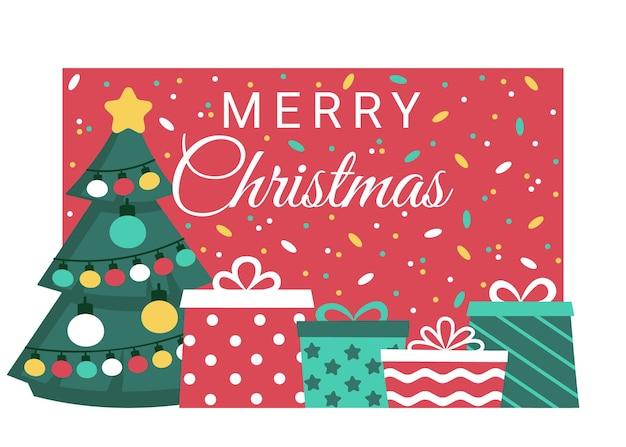 Vakantie trouwen kerstmis met sparren en geschenken banner kopen ontvangen van geschenken geven