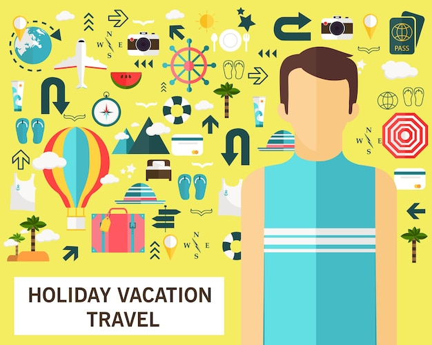 Vakantie vakantie reizen concept plat pictogrammen.