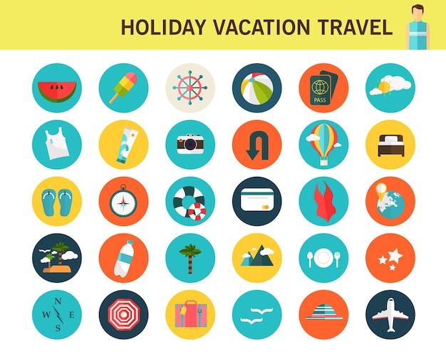 Vakantie vakantie reizen consept plat pictogrammen.