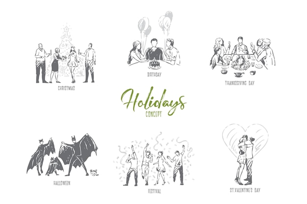 Vakantie valentijn dag concept schets illustratie