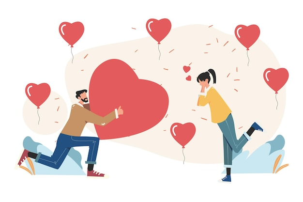 Vakantie valentijnsdag, communicatie en kennismaking, verliefd stel en harten