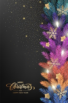 Vakantie voor merry christmas-wenskaart met een realistische kleurrijke slinger van pijnboomtakken, versierd met kerstverlichting, gouden sterren, sneeuwvlokken