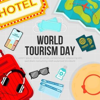 Vakantie-voorbereidingstool om de wereldtoerismedag te verwelkomen met gezondheidsprotocol, veilige reiziger,.