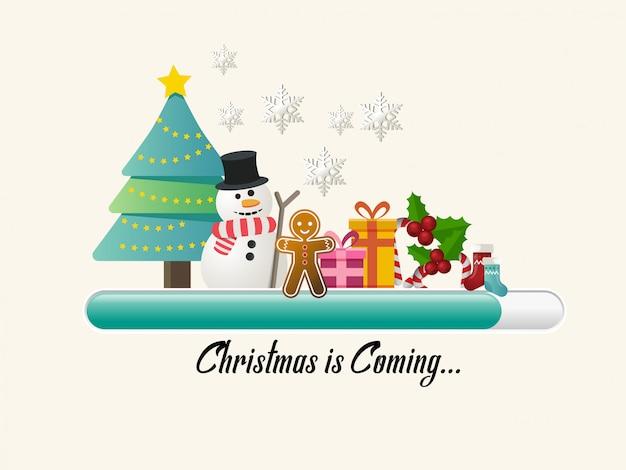 Vakantie voortgangsbalk met kerstboom en de andere van kerstversiering.
