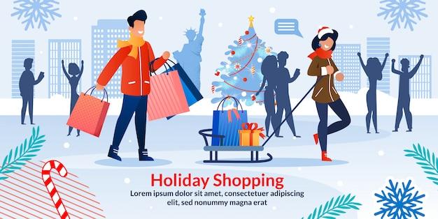 Vakantie winkelen kerstmis verkoop uitnodiging poster