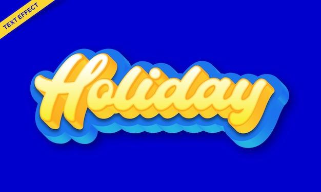 Vakantie wit blauw teksteffect ontwerp