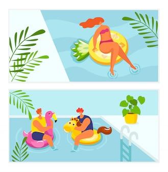 Vakantie zomer ontspannen in water zwembad, vakantie reizen illustratie. meisje vrouw man zonnebaden op het strand, mensen zweven zwemmen in zwembroek. zwemvrije tijd in het resort, ontspanning levensstijl.