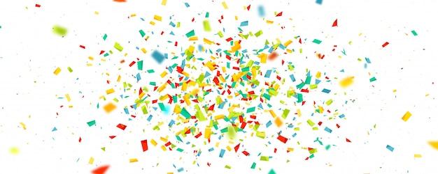 Vakantieachtergrond met vliegende kleurrijke geïsoleerde confettien