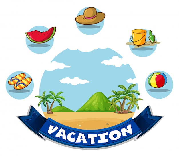 Vakantiebanner met strand en speelgoed