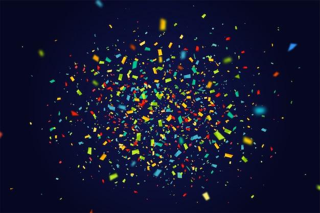 Vakantiebanner met vliegende kleurrijke confettien op donkerblauwe achtergrond