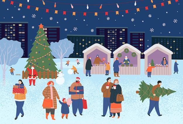 Vakantiebeurs, kerst in het park. grote groep mensen in de winter. mensen die lopen, cadeaus kopen, koffie drinken, schaatsen, skiën, een sneeuwpop maken, honden uitlaten. platte cartoon vectorillustratie.