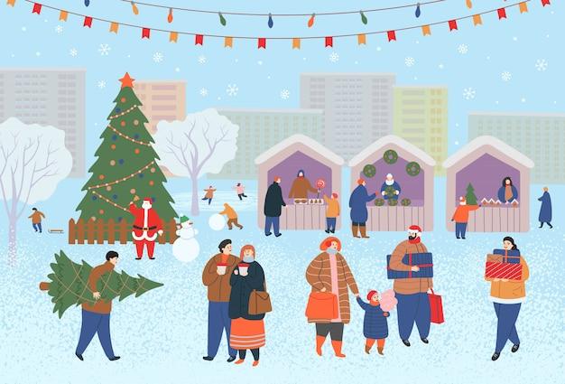 Vakantiebeurs, kerstmarkt overdag in het park of dorpsplein met mensen, kiosken en een kerstboom. mensen lopen, kopen cadeaus, drinken koffie, schaatsen. platte cartoon vectorillustratie