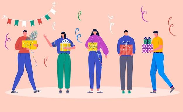 Vakantieconcept met karakters en kerstcadeau. jonge jongen en meisje, vrienden mensen versieren kerstdozen. geschenken onder dennenboom en sneeuwvlokken, vectorcollectie