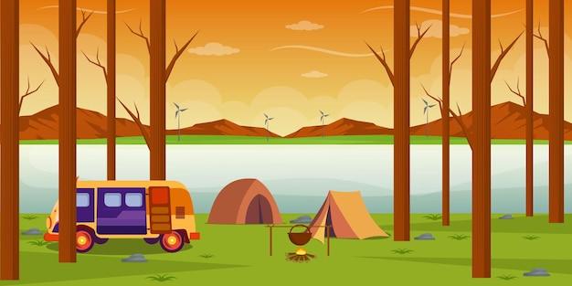 Vakantiereizen in de natuur, illustratie in vlakke stijl