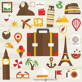 Vakantiereizen set van pictogrammen gratis te downloaden